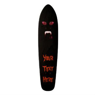 Evil Red Demon Eyes & Bloody Vampire Fangs Skateboard Deck