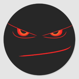 evil red eyes seal classic round sticker