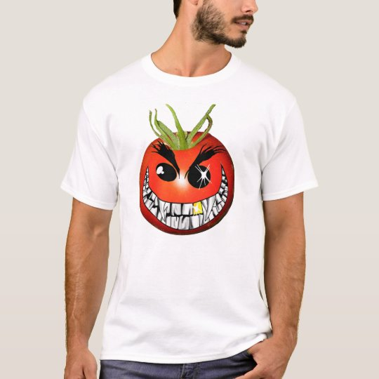 Evil red grinning tomato smiley T-Shirt