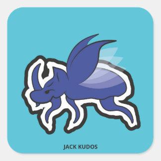 Evil Rhino Beetle Blue | Jack Kudos Square Sticker