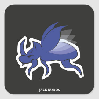 Evil Rhino Beetle Dark Grey | Jack Kudos Square Sticker
