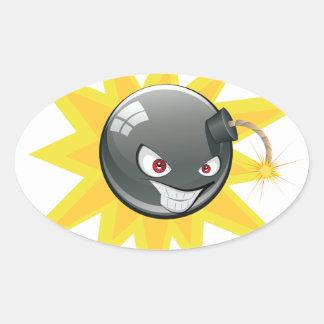Evil Round Bomb 2 Oval Sticker