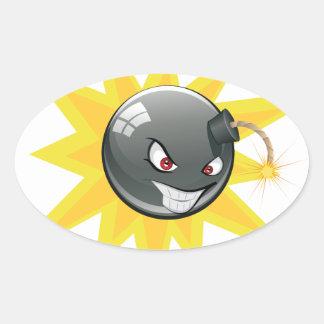 Evil Round Bomb Oval Sticker