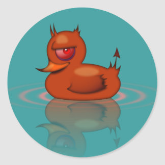 Evil Rubber Duck Classic Round Sticker