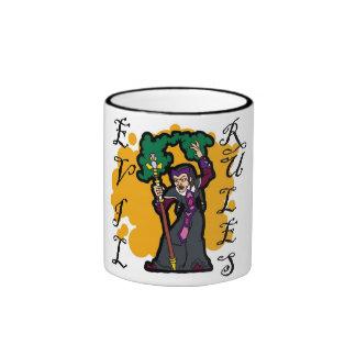Evil Rules Ringer Coffee Mug