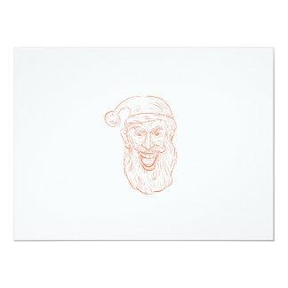 Evil Santa Claus Head Drawing Card