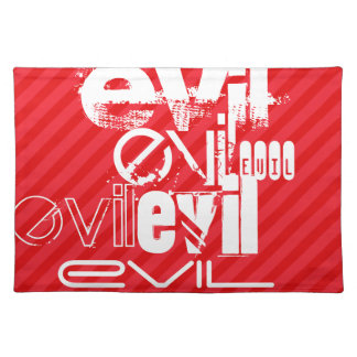 Evil; Scarlet Red Stripes Cloth Place Mat