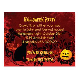 Evil Scary Black Cat Halloween Party Invitation Post Card