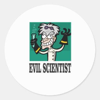 evil scientist classic round sticker