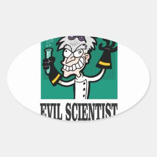 evil scientist oval sticker