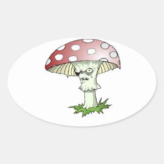 Evil Shroom Oval Stickers