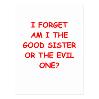 evil sister postcard