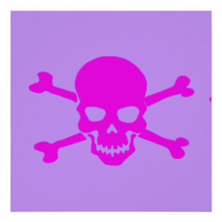 Evil Skull and Crossbones Pink Posters