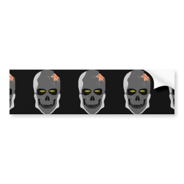 Halloween Themed Evil-Skull Bumper Sticker