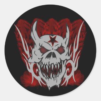 Evil Skull Classic Round Sticker