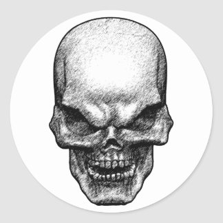 Evil Skull Face Classic Round Sticker