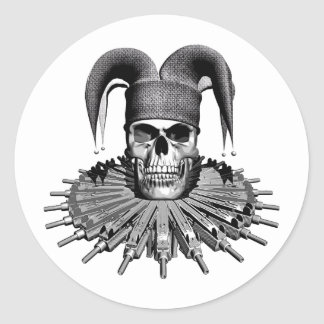 Evil Skull Jester Round Sticker