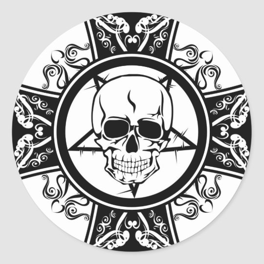 Evil skull on cross dark emo classic round sticker