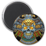Evil Skull with Guns and Bullets by Al Rio 2 Inch Round Magnet