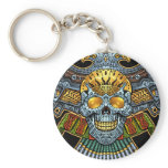 Evil Skull with Guns and Bullets by Al Rio Basic Round Button Keychain