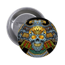 skull, skulls, skeleton, bullets, guns, handgun, eagle, gold, golden, al rio, illustration, tough, Button with custom graphic design