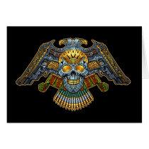 skull, skulls, skeleton, bullets, guns, handgun, eagle, gold, golden, al rio, illustration, tough, Card with custom graphic design