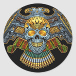 Evil Skull with Guns and Bullets by Al Rio Classic Round Sticker