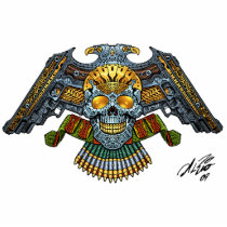 skull, skulls, skeleton, bullets, guns, handgun, eagle, gold, golden, al rio, illustration, tough, Photo Sculpture with custom graphic design