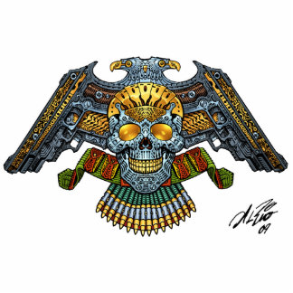 Evil Skull with Guns and Bullets by Al Rio Cutout