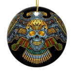Evil Skull with Guns and Bullets by Al Rio Double-Sided Ceramic Round Christmas Ornament