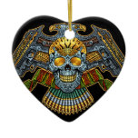 Evil Skull with Guns and Bullets by Al Rio Double-Sided Heart Ceramic Christmas Ornament