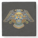 Evil Skull with Guns and Bullets by Al Rio Stone Coaster