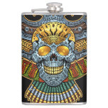 Evil Skull with Guns and Bullets by Al Rio Hip Flasks