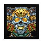 Evil Skull with Guns and Bullets by Al Rio Keepsake Box