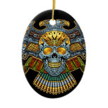 Evil Skull with Guns and Bullets by Al Rio Double-Sided Oval Ceramic Christmas Ornament