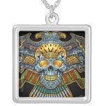 Evil Skull with Guns and Bullets by Al Rio Silver Plated Necklace