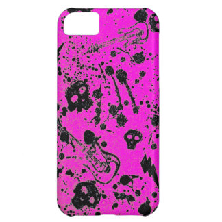 Evil -skulls and guitars in pink iPhone 5C cover