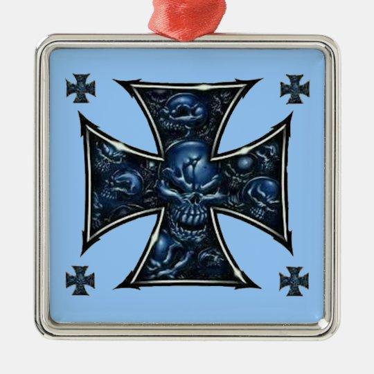 Evil Skulls Iron Cross 2 Metal Ornament