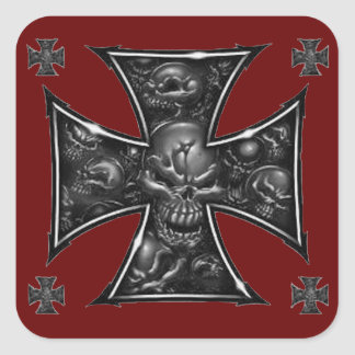 Evil Skulls Iron Cross Square Sticker