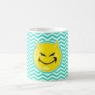 Evil Smile; Aqua Green Chevron Coffee Mugs
