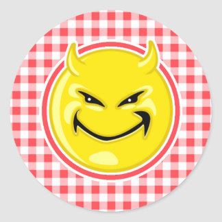 Evil Smile; Red and White Gingham Classic Round Sticker