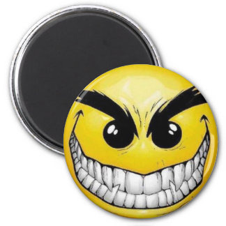 Evil smiley face 2 inch round magnet