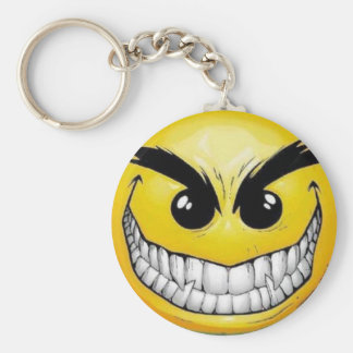 Evil smiley face basic round button keychain