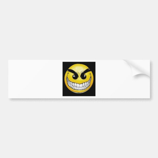 Evil smiley face bumper sticker