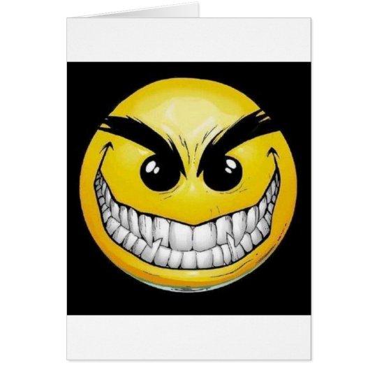 Evil smiley face card