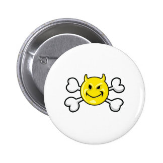 EVIL SMILEY Skull and Crossbones Buttons