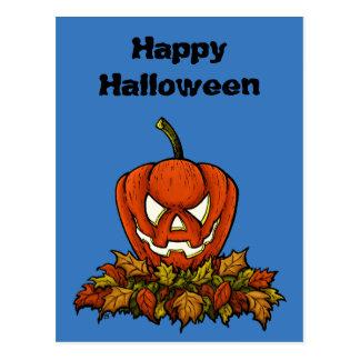 evil smiling halloween pumpkin postcard