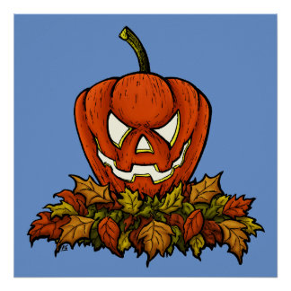 evil smiling halloween pumpkin poster