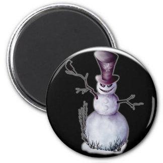 evil snowman 2 inch round magnet