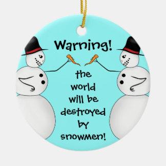Evil snowmen destroy the world Double-Sided ceramic round christmas ornament